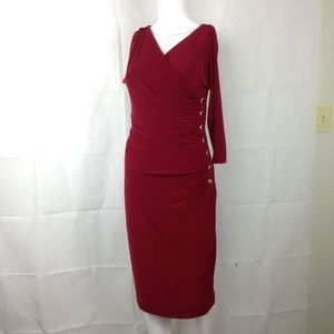 Ralph Lauren Long Sleeve Burgundy Wrap Dress Sz 4